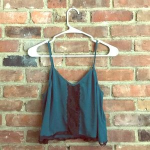 emerald green lacy cropped tank